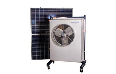 Solar powered portable evaporative cooler